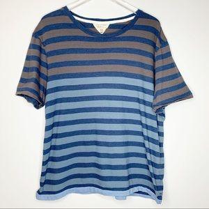 Rag & Bone Mens Blue Brown Striped Cotton Tee XXL